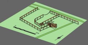 Proposition de restitution axonométrique de l'enclos d'élevage du bétail antique. DAO : Stéphane Adam © Éveha, 2014