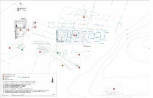 Historique des zones fouillées sur le site du Palais, Châteauneuf-du-Rhône (Drôme). C. Landry, Inrap Rhône-Alpes-Auvergne (Lyon) / UMR 5138 Arar