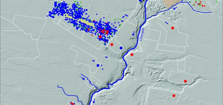 Figure 2 : exemple de cartographie : le site de Lamolère et son environnement archéologique (DAO : D. Vignaud).
